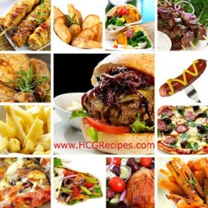 HCG Diet Loading Secrets Pictures of Hamburger, Pizza, Kebab, Hot dog, French Fries and Wraps