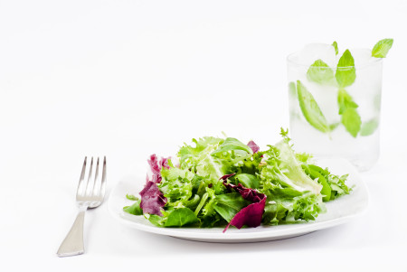 Strategies for Hunger on HCG Phase 2 Salad, fork and water with mint