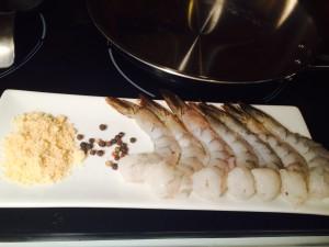 Black Pepper Shrimp Recipe raw shrimp, melba toast and peppercorns