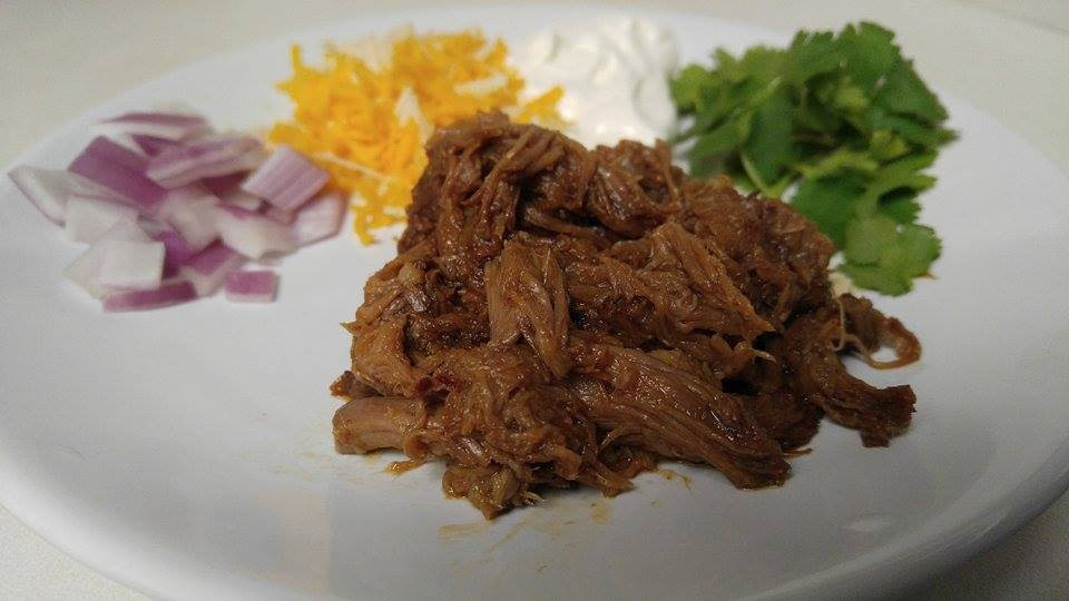 Barbacoa Beef Phase 3 with onions, cilantro, cheese and sour cream