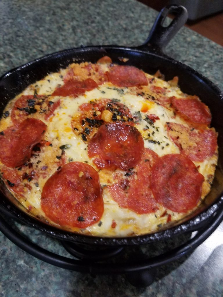 Pepperoni Pizza Frittata for HCG Phase 3 in cast iron skillet